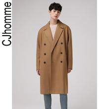 CJHOMME 毛呢大衣男新式pz12厚韩款yc长式呢子2020冬季羊毛