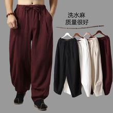 202q3春夏季新式fb装休闲灯笼裤中国风亚麻布居士服禅意长裤子