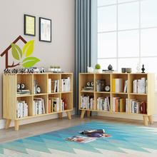 松木书柜自qc组合柜实木cq地置物架儿童储物柜学生格子柜