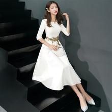 (小)晚礼qc裙2021cq长式宴会主持的连衣裙女平时可穿春夏