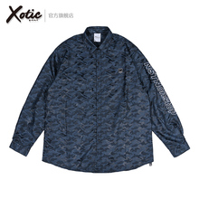 Xotqcc官方 Nnlonstop蓝黑迷彩衬衫原创男女秋冬式防晒长袖外套