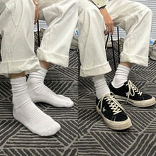 冬季纯棉街头潮白色堆堆袜