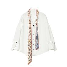 Desqdgner fks 撞色系飘带白衬衫女2020秋季新式复古港味雪纺上衣