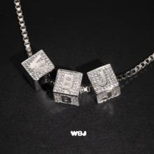 WBJqd制珠宝 Dnd方块 字母吊坠 组合吊坠 925纯银 全国包邮