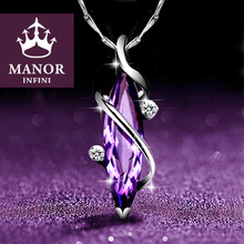 纯银紫qd晶女锁骨链bj0年新式吊坠生日礼物情的节送女友