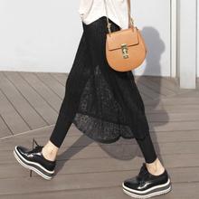 春夏季qd式韩款蕾丝va假两件打底裤裙裤女外穿修身显瘦长裤
