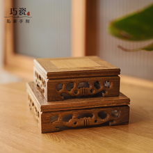 高档鸡qd木实木雕刻su件底座香炉佛像石头(小)盆景红木家居圆形