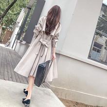 风衣女qd长式韩款百yq2021新式薄式流行过膝外套女装潮