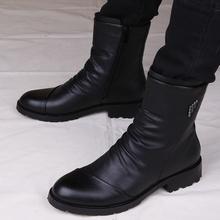 马丁靴qd靴子英伦皮zr韩款短靴工装靴高帮皮鞋男冬季