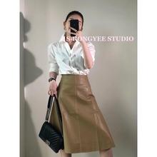 S・RqfNGYEEik棕色两色PU半身裙百搭A字型高腰伞裙中长式皮裙