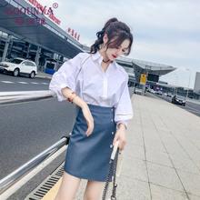 格润雅qg腰包臀裙女gw020新式时尚修身(小)皮裙性感开叉半身短裙