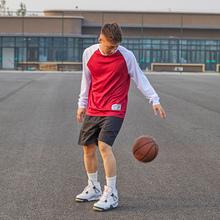 PHEqg篮球速干Tkq袖春季2021新式圆领宽松运动上衣潮帅气衣服