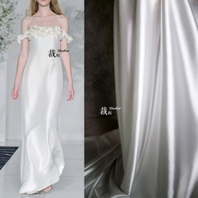 丝绸面qg 光面弹力wl缎设计师布料高档时装女装进口内衬里布