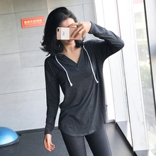 大码宽qg纯棉运动上gf速干健身长袖瑜伽服t恤跑步连帽衫春夏