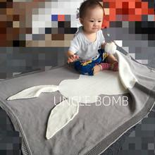 纯棉iqgs婴儿毯儿cd毯宝宝 男女童针织毯萌萌兔子空调毛线毯子