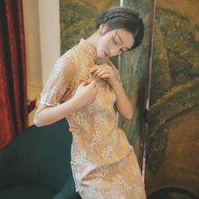 法国(小)qh年轻式少女h8袍式连衣裙法式复古中国民国风礼服裙仙