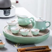 潮汕功qh茶具套装家kx景德镇茶盘茶壶盖碗茶杯整套陶瓷茶船