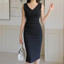 黑色V领连衣裙夏女qh6身显瘦收qj腰包臀一步裙子中长西装裙