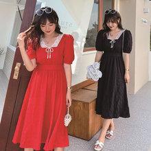 微胖大qh女装显瘦连wf妹妹MM加肥大号法式复古长裙夏