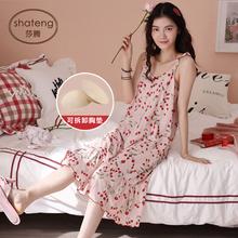 吊带睡qi女夏性感纯n8胸垫夏季薄式无袖吊带裙子长式夏天睡衣