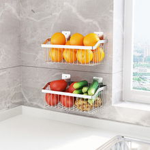 厨房置qi架免打孔3ye锈钢壁挂式收纳架水果菜篮沥水篮架