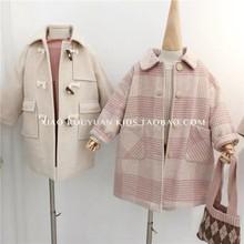 (小)肉圆qi0冬季韩款ye气格子大衣男女童宝宝百搭呢大衣保暖外套