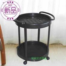 带滚轮qi移动活动圆ao料(小)茶几桌子边几客厅几休闲简易桌。