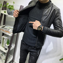 经典百qi立领皮衣加ng潮男秋冬新韩款修身夹克社会的网红外套