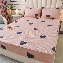 全棉床qi单件夹棉加ha思保护套床垫套1.8m纯棉床罩防滑全包