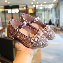 202qi春季新式女ha鞋亮片女孩水晶鞋(小)高跟学生鞋(小)单鞋跳舞鞋