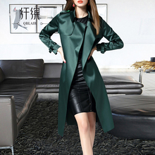 纤缤2qi21新式春an式风衣女时尚薄式气质缎面过膝品牌风衣外套