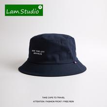 春夏日qi原宿藏青色zu仔渔夫帽男女NEWYORKCITY简约盆帽帽子