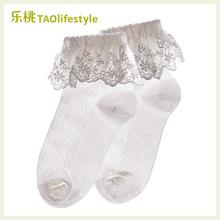 乐桃有qi棉女童花边le子纯棉夏季薄婴儿宝宝船袜(小)孩公主短袜