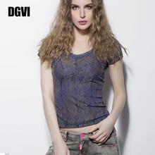 DGVqi紫色蕾丝Tng2021夏季新式时尚欧美风薄式透气短袖上衣