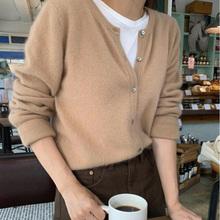 初秋新qi羊绒开衫女ng松套头针织衫毛衣短式打底衫羊毛厚外套