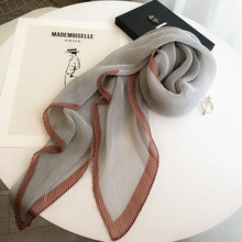 外贸褶qi时尚春秋丝hu披肩薄式女士防晒纱巾韩系长式菱形围巾