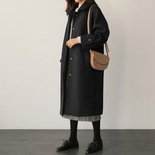 毛呢大qi2020年hu士气质黑色过膝中长式秋冬装(小)个子呢子外套