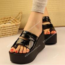 新品韩qi超高跟坡跟ca夏季女PU套趾凉拖鞋厚底松糕跟女凉鞋子