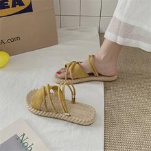 凉鞋女qi仙女风inin020新式时尚学生百搭罗马平底两穿网红凉拖