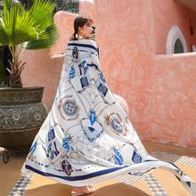 丝巾女qi夏季防晒披de海边海滩度假沙滩巾超大纱巾民族风围巾
