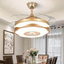 北欧隐qi风扇灯现代la厅吊扇灯三色变光变频卧室节能led灯具