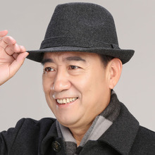 中老年qi子男士秋冬la羊毛呢礼帽男英伦爵士帽中年的爸爸帽子