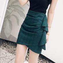 绿色短qi女夏202ao裙子性感高腰显瘦包臀紧身一步裙格子半身裙