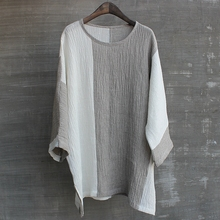 男夏季qi接圆领分袖liT恤衫亚麻衬衫简洁舒适文艺大码宽松
