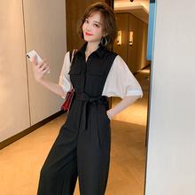 MIUqiO撞色拼接li高腰系腰带宽松阔腿连体裤女装2020夏季新式