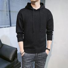 加厚男qi毛衣半高领li带帽针织打底衫纯黑色中领线衣潮流男装