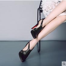 202qi新式办公室pm细跟真皮中空扣带黑色欧美风大(小)码女凉鞋