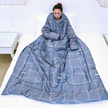 懒的被qi带袖宝宝防pm宿舍单的保暖睡袋薄可以穿的潮冬被纯棉