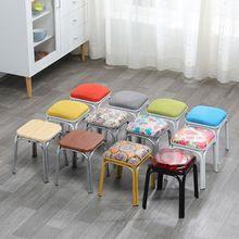 特价家qi圆(小)凳子吃en凳简约时尚圆凳加厚铁管(小)板凳套凳