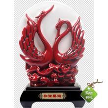 和谐美满摆件活性炭雕工艺品喜庆红色qi14鹅一对iu结婚礼品